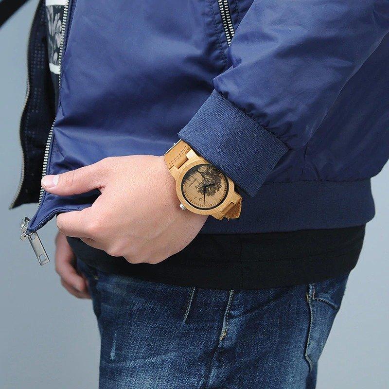 Drewniany zegarek Bobo Bird Pic Tree P20-4 na ręce