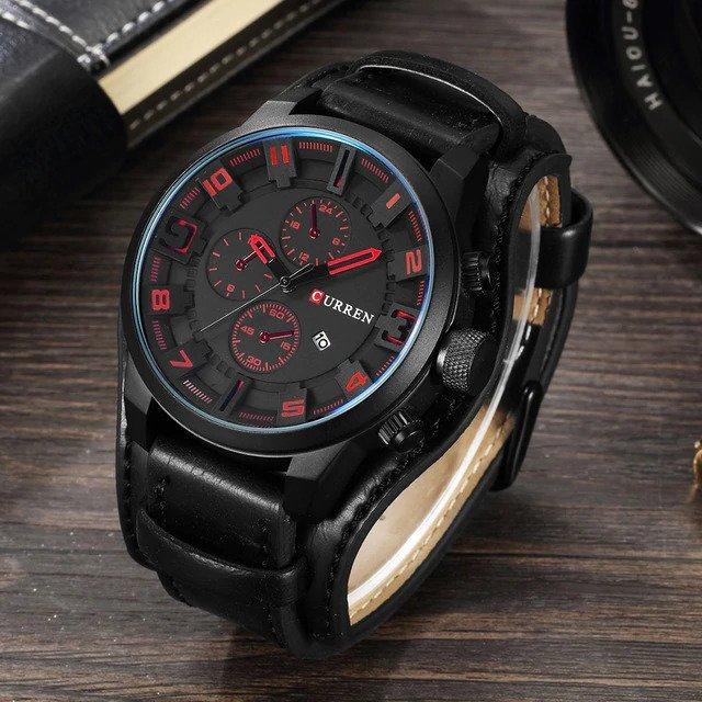 Zegarek Curren Grizzly czarny czerwony 12