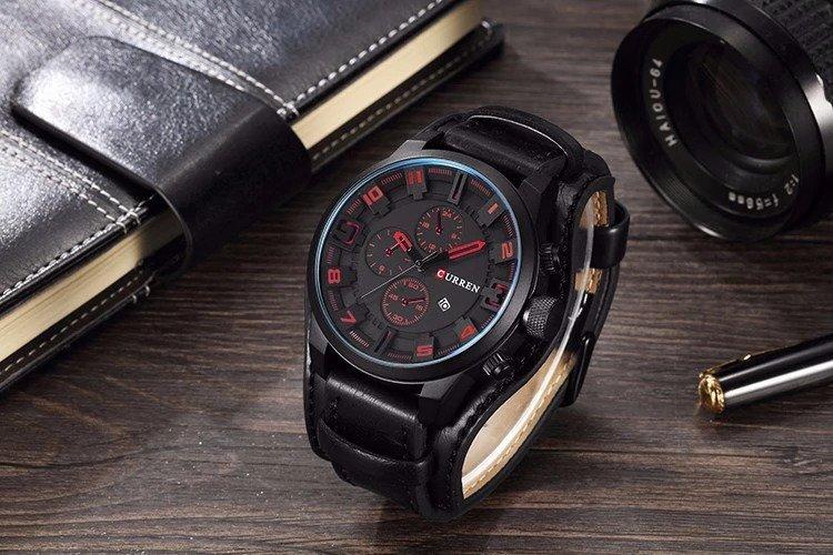 Zegarek Curren Grizzly czarny czerwony 10