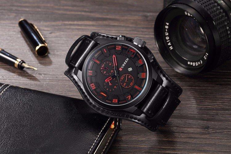 Zegarek Curren Grizzly czarny czerwony 9