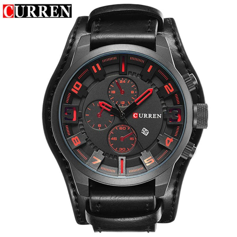 Zegarek Curren Grizzly czarny czerwony 8