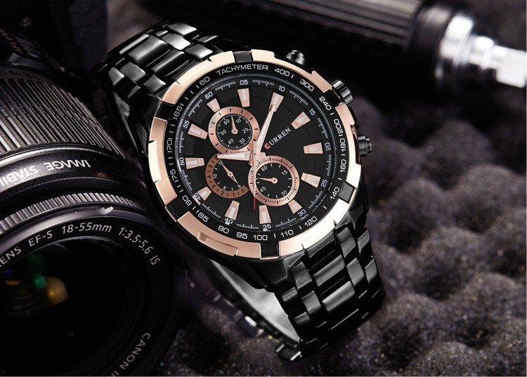 Złoto-czarny zegarek Curren Harrison 8023