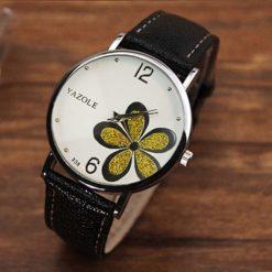 Zegarek Yazole Flower czarny złoty