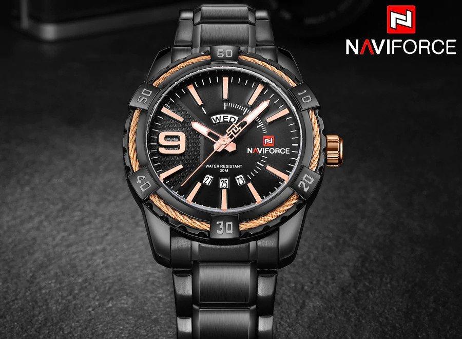 Zegarek Naviforce Rope czarny złoty 7