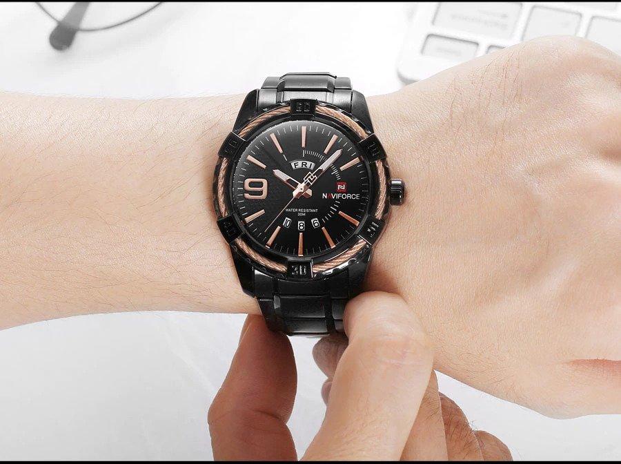 Zegarek Naviforce Rope czarny złoty 15