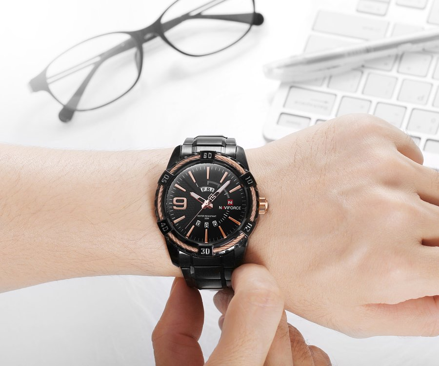 Zegarek Naviforce Rope czarny złoty 8