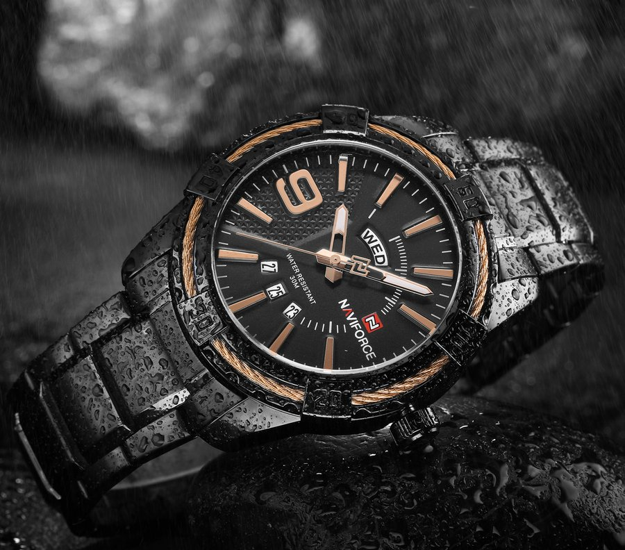 Zegarek Naviforce Rope czarny złoty 9