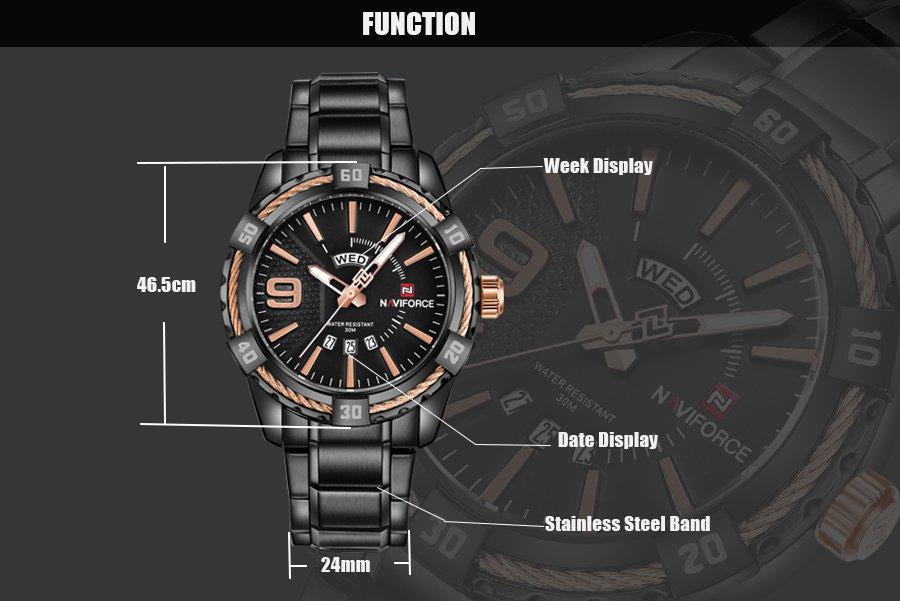 Zegarek Naviforce Rope czarny złoty 10