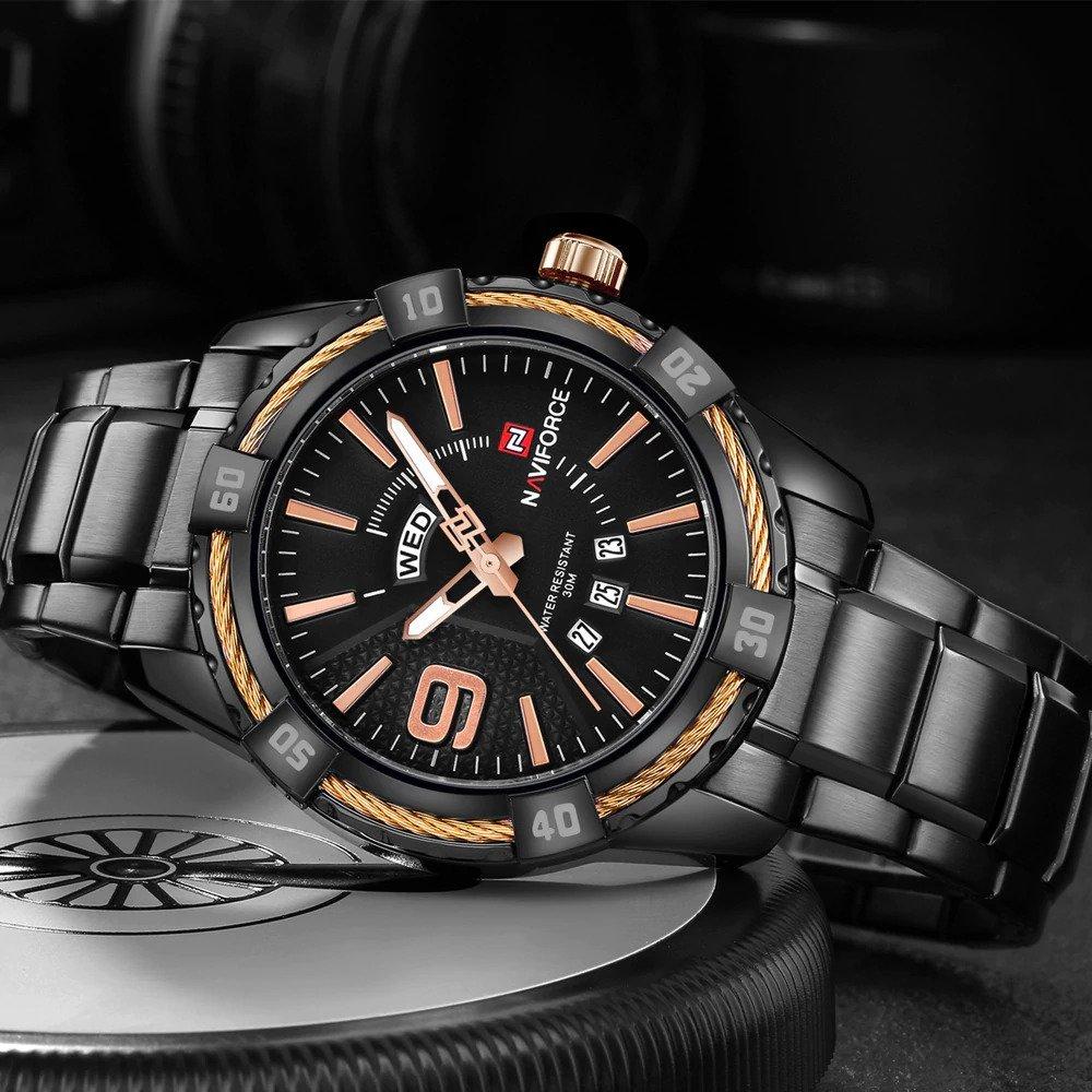 Zegarek Naviforce Rope czarny złoty 13