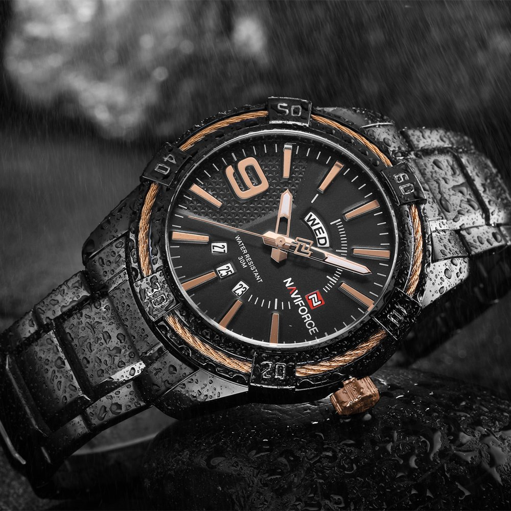 Zegarek Naviforce Rope czarny złoty 14