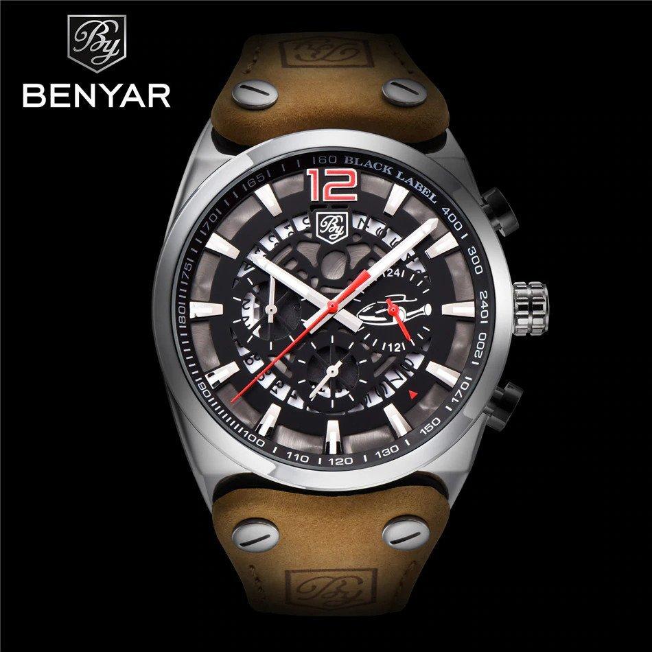Srebrno-czerwony zegarek Benyar Blackbird z przodu