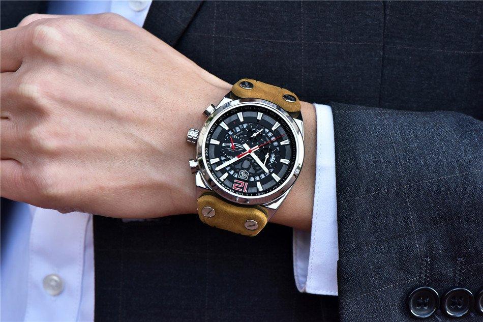 Srebrno-czerwony zegarek Benyar Blackbird na ręce