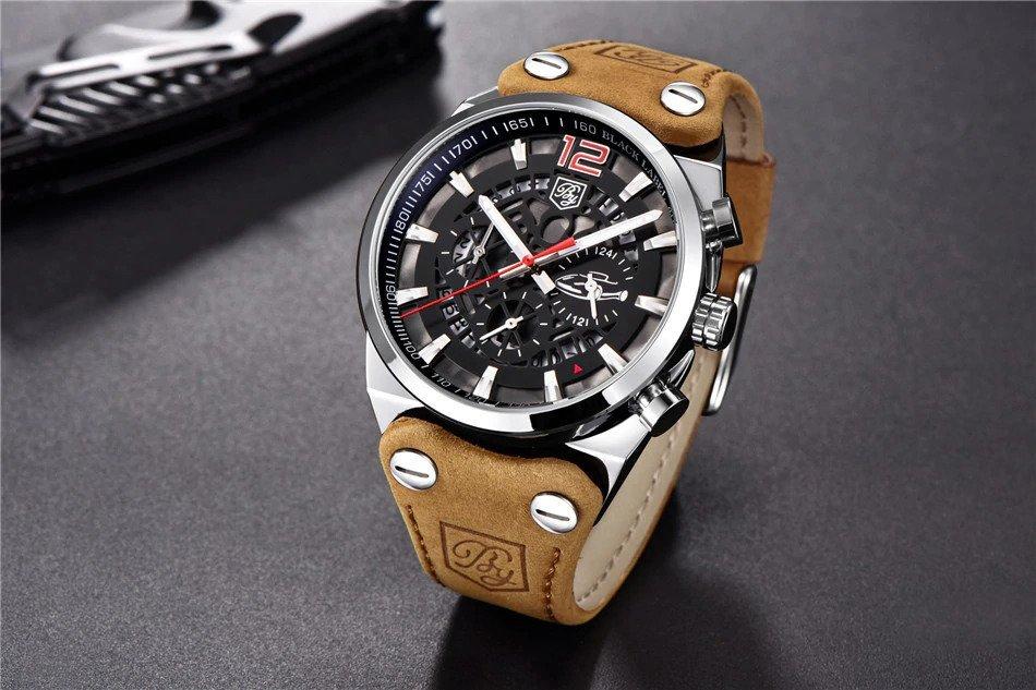 Srebrno-czerwony zegarek Benyar Blackbird