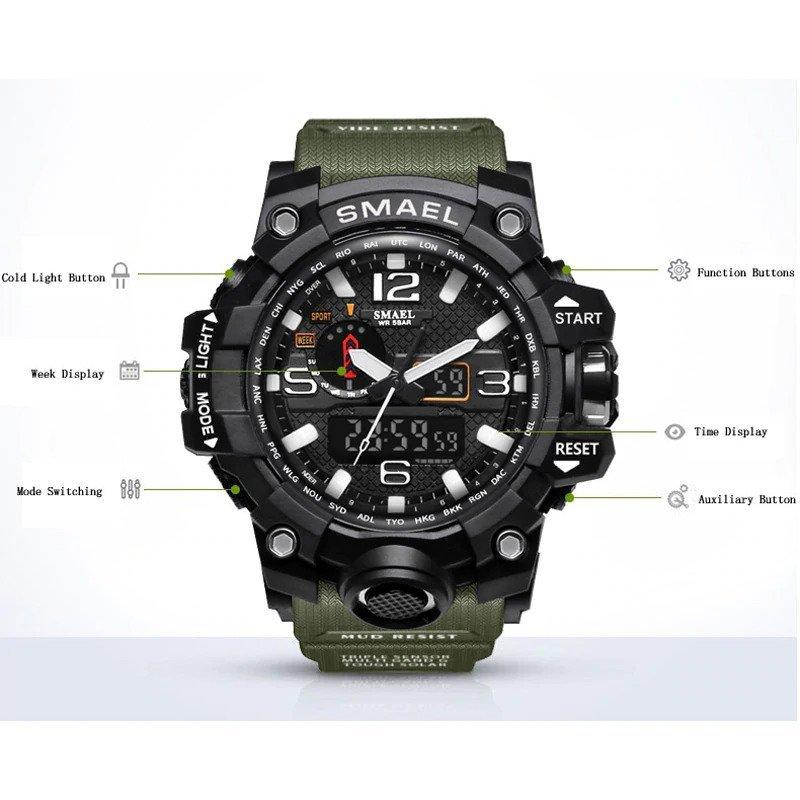 Zegarek Smael Camouflage zielony 11