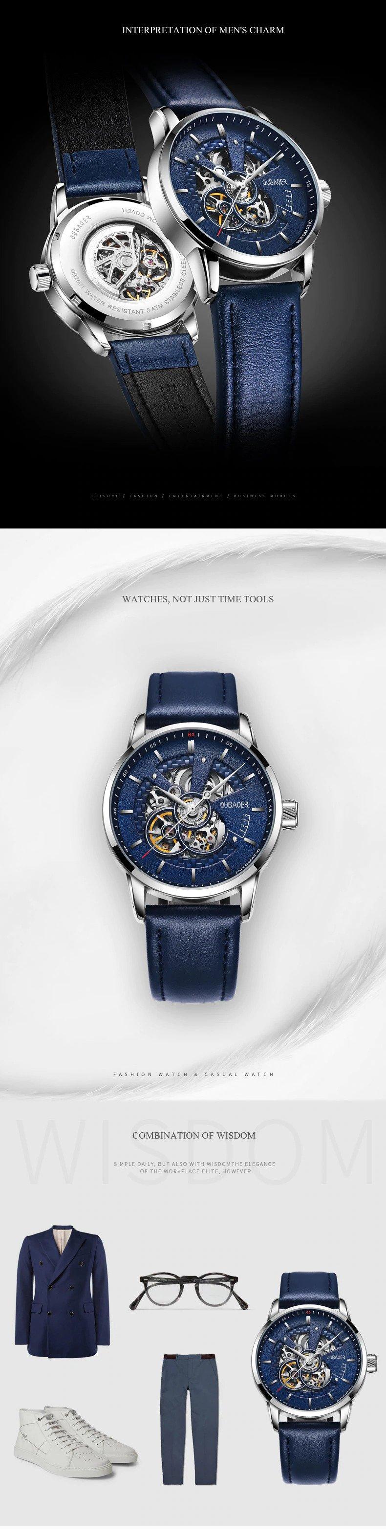 Zegarek Oubaoer Primera niebieski 7