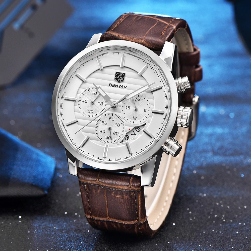 Zegarek Benyar Royal srebrny biały 8