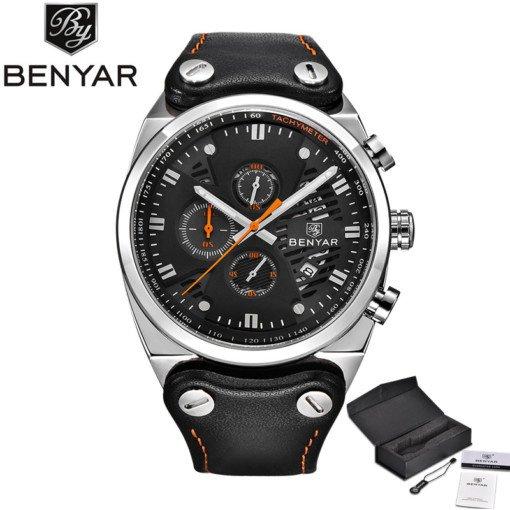 Zegarek Benyar Blackshadow srebrny-pomarańczowy BY5110 4