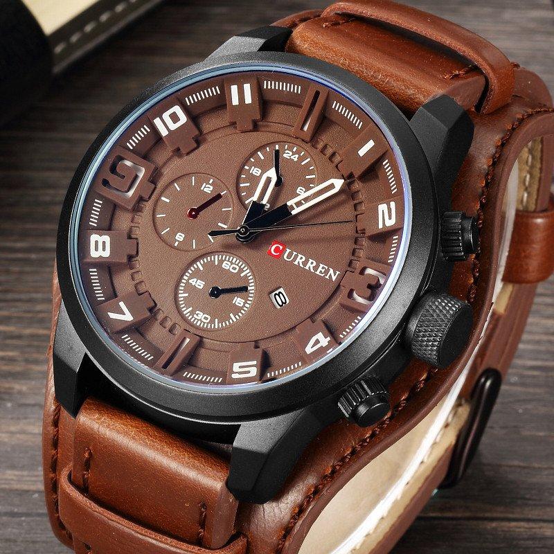 Zegarek Curren Grizzly brązowy biały 5