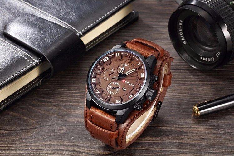 Zegarek Curren Grizzly brązowy biały 6
