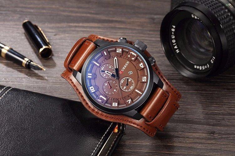 Zegarek Curren Grizzly brązowy biały 7