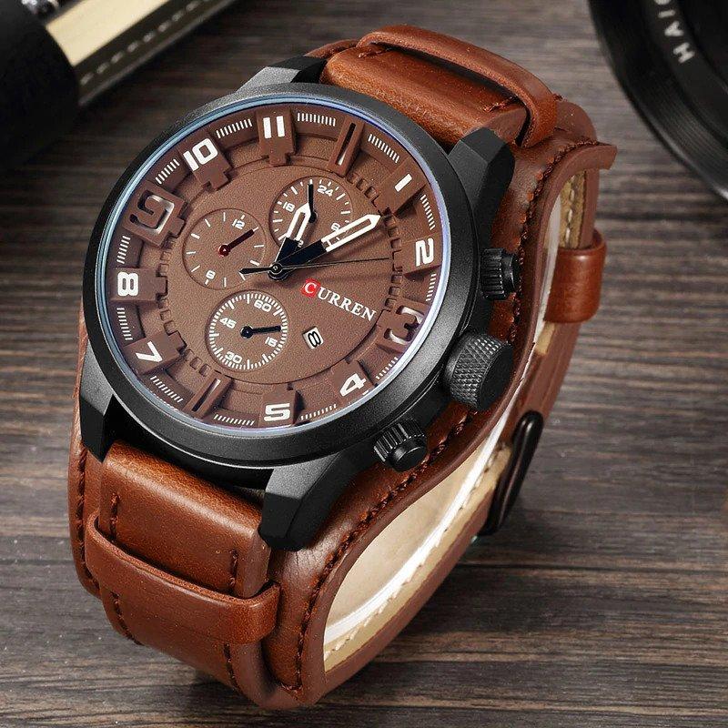 Zegarek Curren Grizzly brązowy biały 8