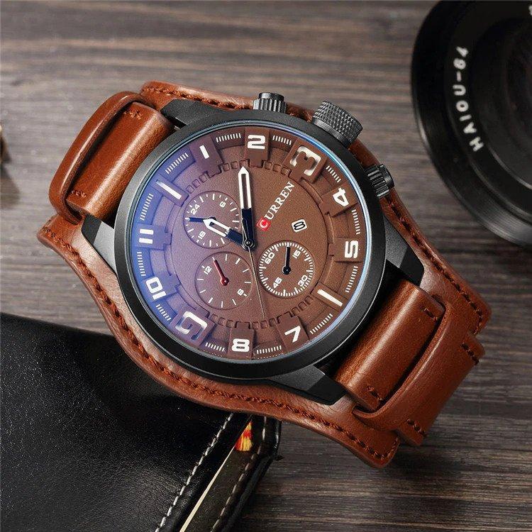 Zegarek Curren Grizzly brązowy biały 9