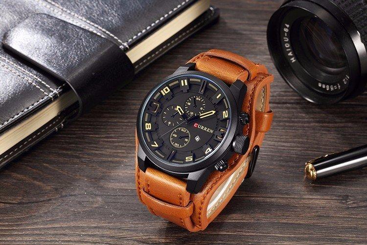 Zegarek Curren Grizzly brązowy żółty 7