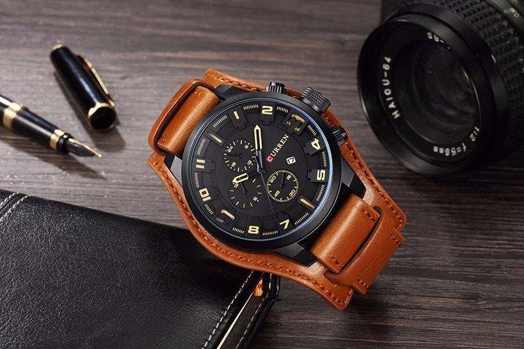 Zegarek Curren Grizzly brązowy żółty 8