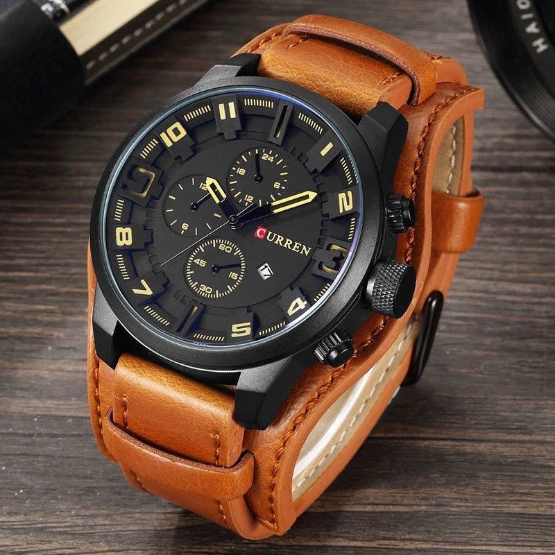 Zegarek Curren Grizzly brązowy żółty 10