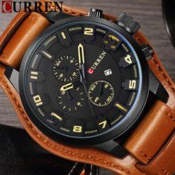 Zegarek Curren Grizzly brązowy żółty 3