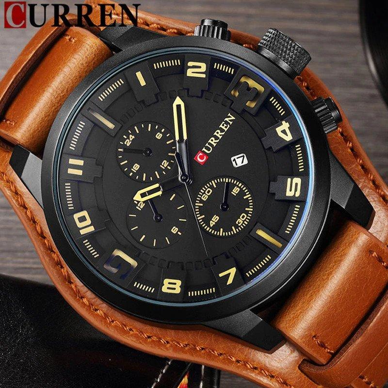 Zegarek Curren Grizzly brązowy żółty 13