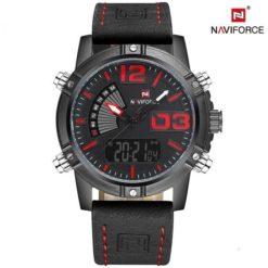 Czarno-czerwony zegarek Naviforce Top