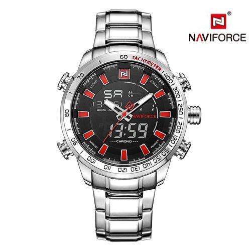 Zegarek Naviforce Rigor srebrny czerwony