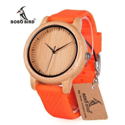 Zegarek drewniany Bobo Bird Color Silikon Orange B05