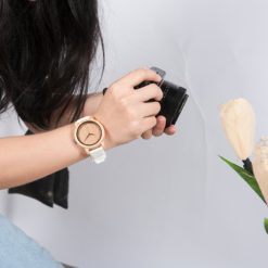 Zegarek drewniany Bobo Bird Color Silikon White B07