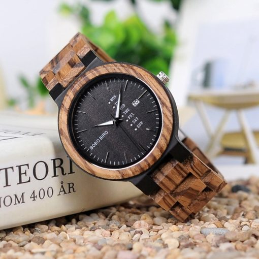 Zegarek drewniany Bobo Bird Data Dark O26-2