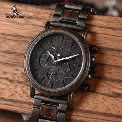 Zegarek drewniany Bobo Bird Max Dark Q26-1