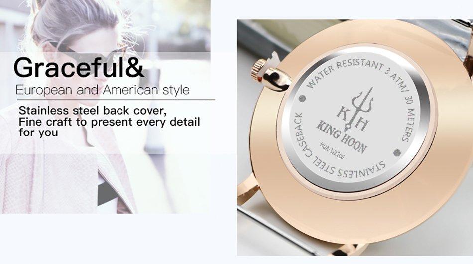 Zegarek King Hoon Star miedziany biały 19