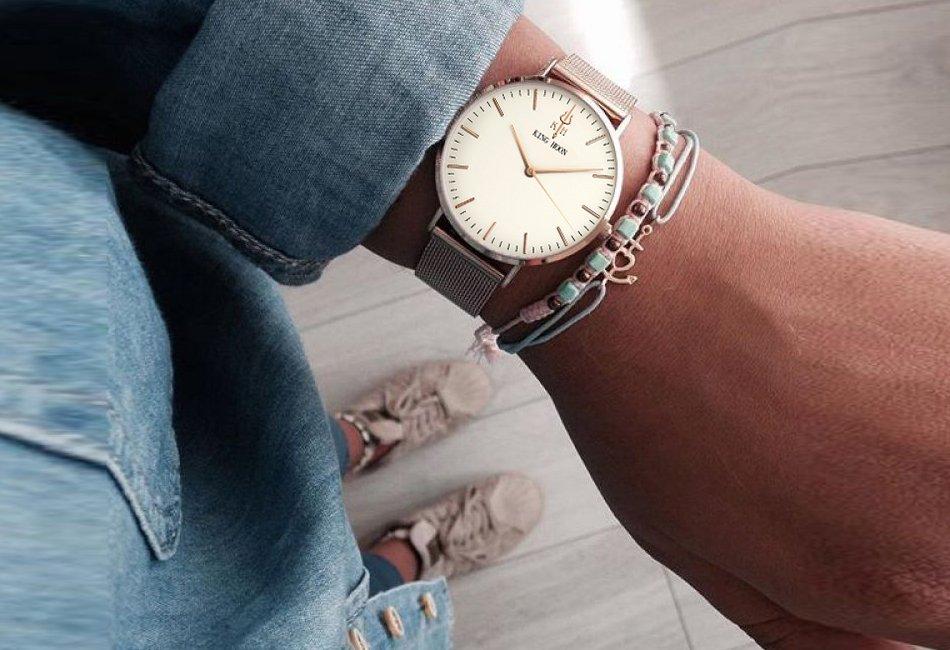 Zegarek King Hoon Star miedziany biały 22