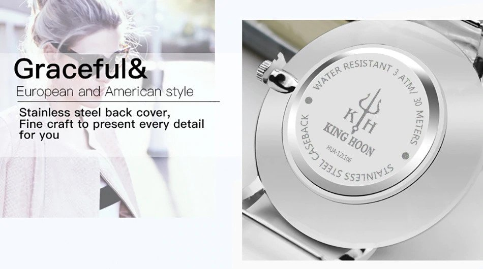 Zegarek King Hoon Star srebrny 23