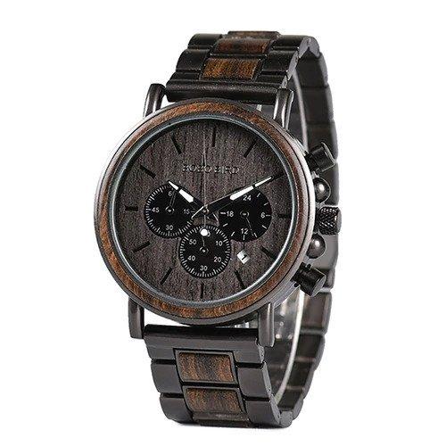 Drewniany zegarek Bobo Bird Max Dark Q26-1