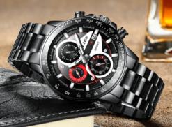 Zegarek Lige Revision czarny czerwony