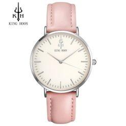 Zegarek King Hoon Star srebrny różowy biały 10