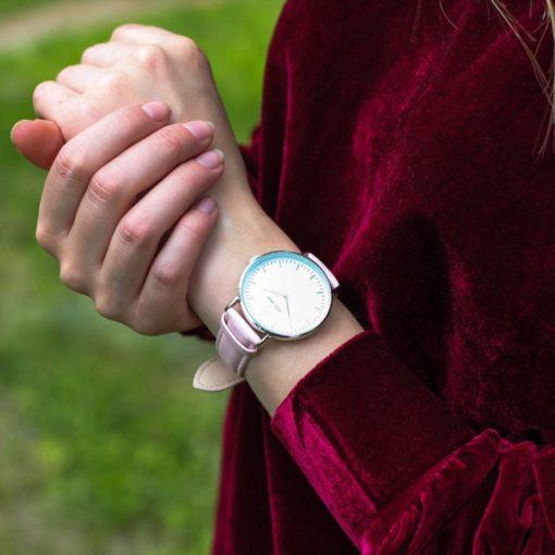 Zegarek King Hoon Star srebrny różowy biały 4