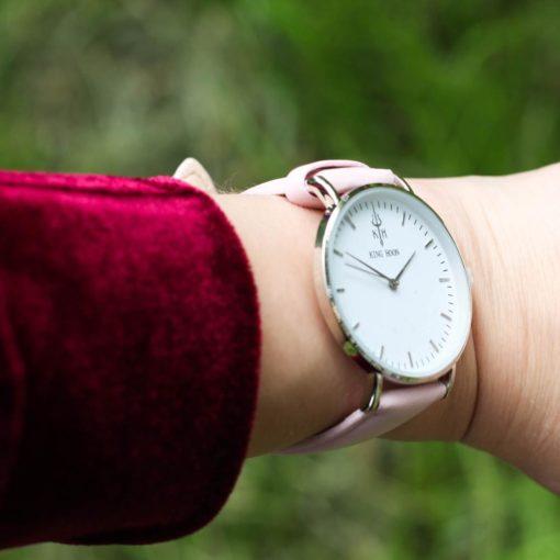 Zegarek King Hoon Star srebrny różowy biały 3