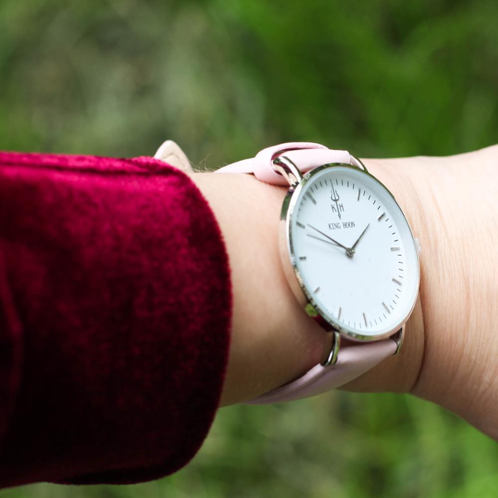 Zegarek King Hoon Star srebrny różowy biały 13