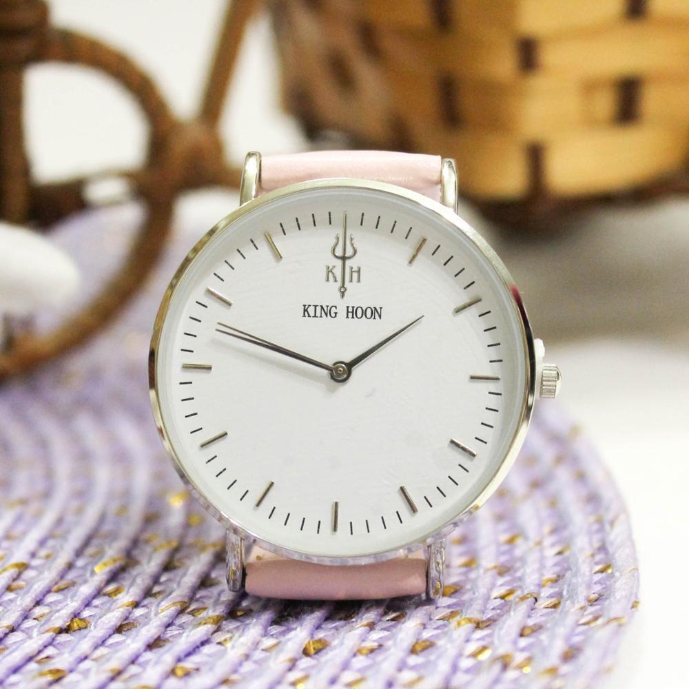 Zegarek King Hoon Star srebrny różowy biały 14