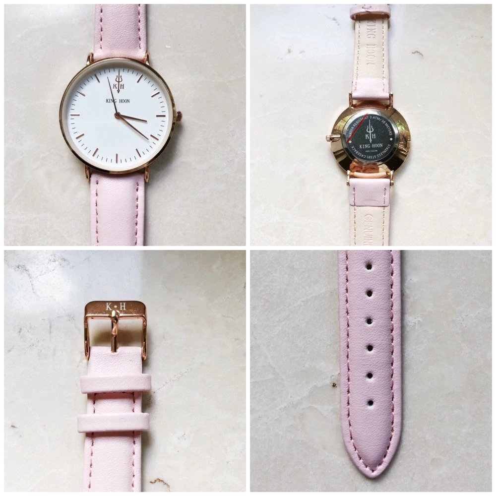 Zegarek King Hoon Star różowy złoty biały 16
