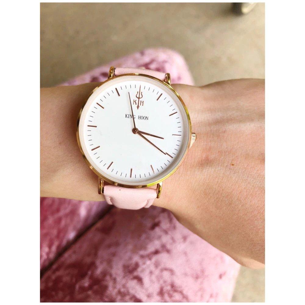 Zegarek King Hoon Star różowy złoty biały 17