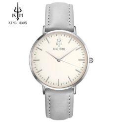 Zegarek King Hoon Star szary srebrny biały 12